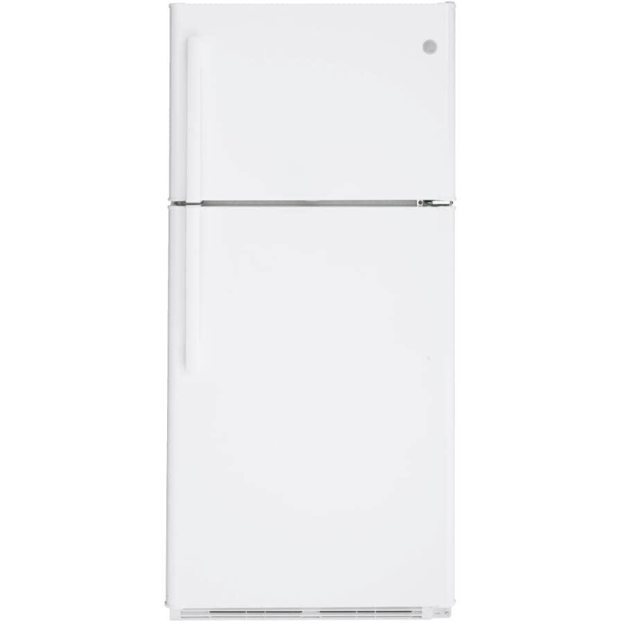GE:18 cu. ft. Top-Freezer Refrigerator (GTS18FTLKWW) - with Reversible Door, White