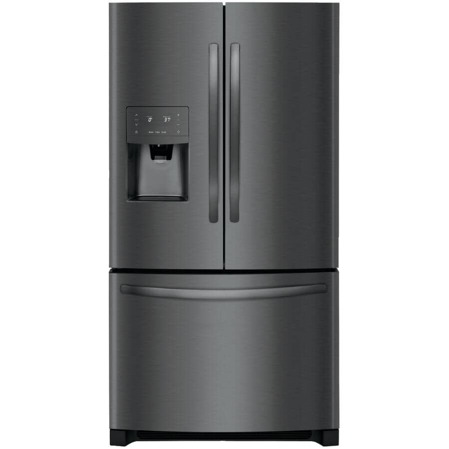 FRIGIDAIRE GALLERY:27.2 cu. ft. Smudge-Proof Black Stainless Steel French Door Refrigerator, with Bottom Mount Freezer