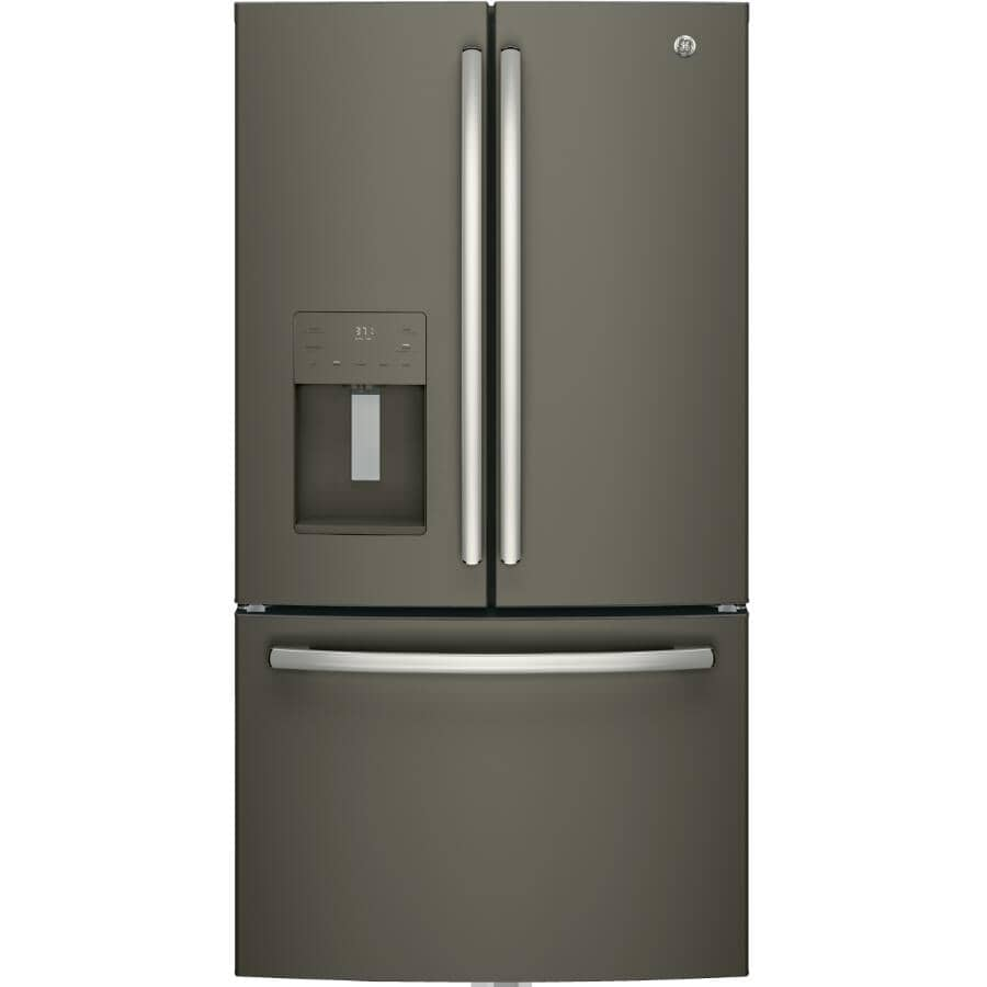GE:25.5 cu. ft. Slate French Door Refrigerator, with Bottom Mount Freezer