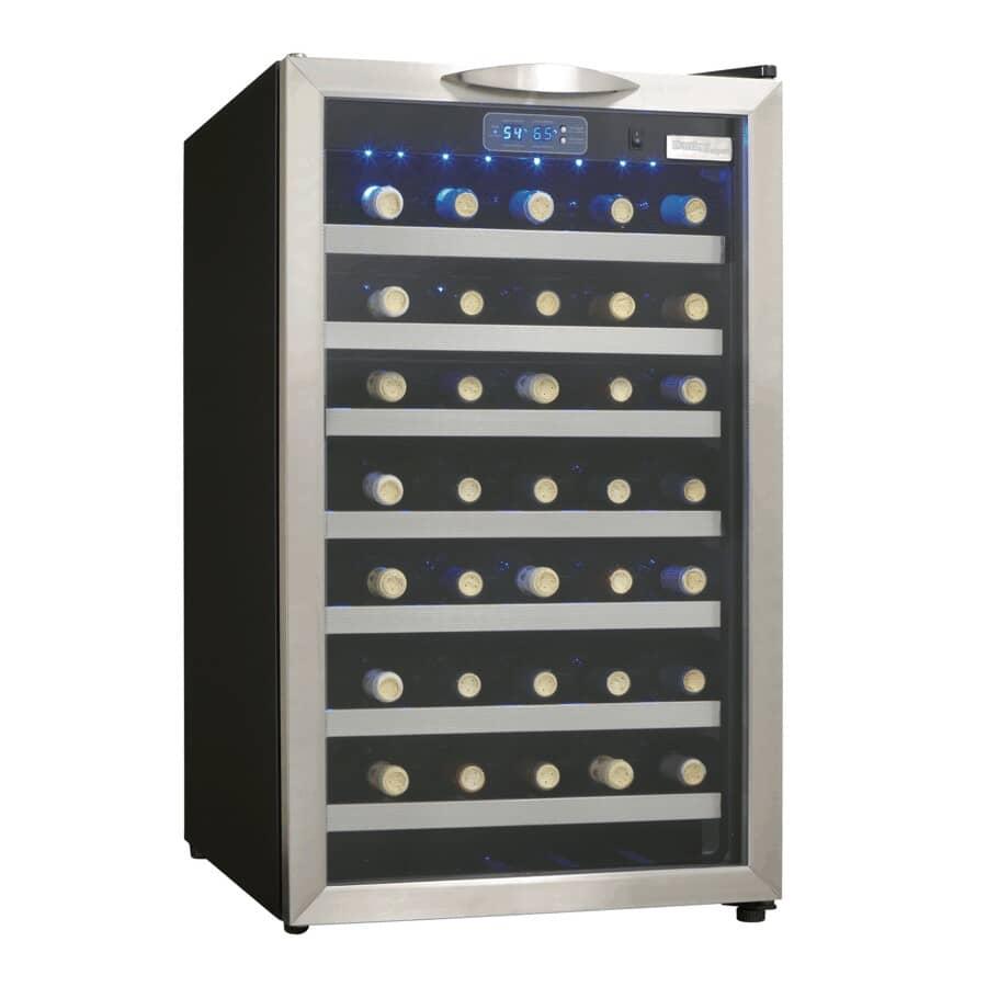 "DANBY DESIGNER:20"" Wine Cooler (DWC458BLS) - 45 Bottles, Black Stainless Steel"