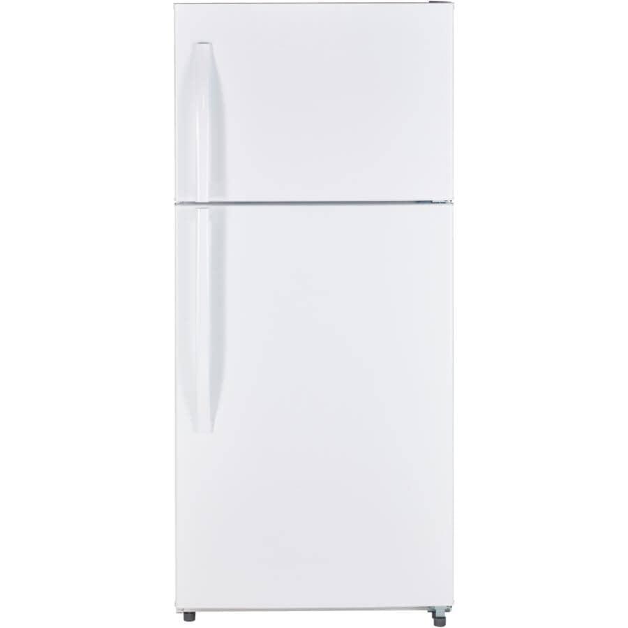 MOFFAT:Réfrigérateur blanc de 18 pieds cubes avec congélateur au haut