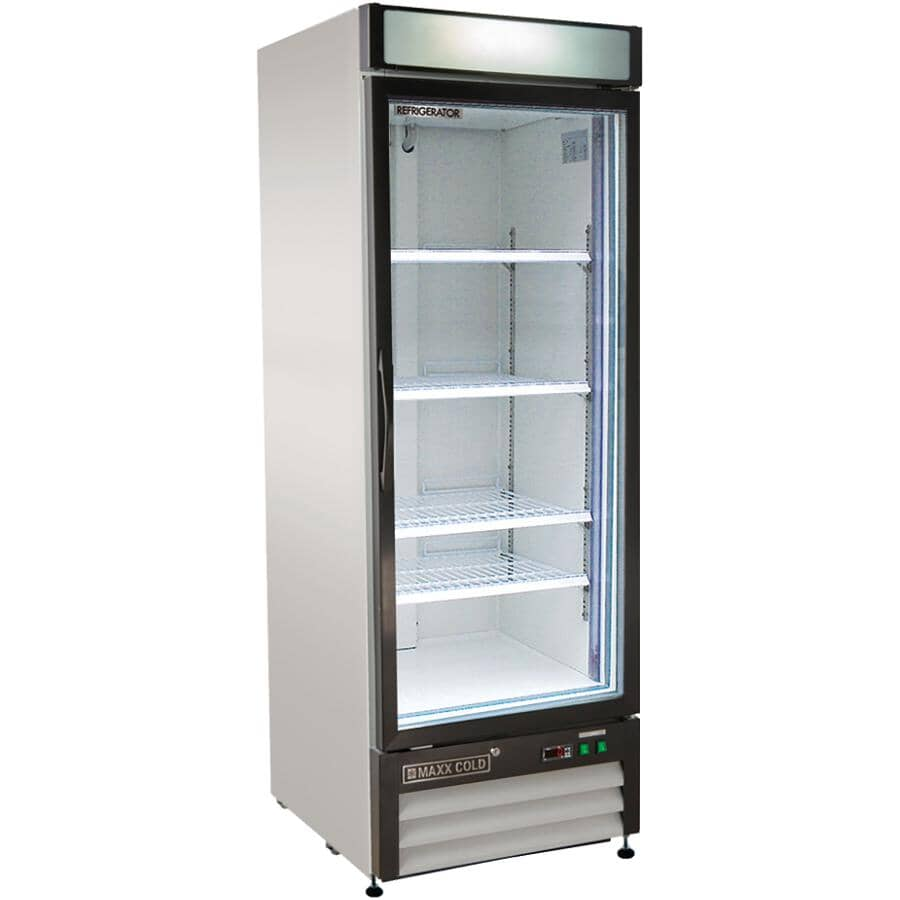 """MAXX COLD:32"""" 23 cu. ft. Commercial Grade Refrigerator (MXM1-23R) - with 1 Glass Door, Stainless Steel"""