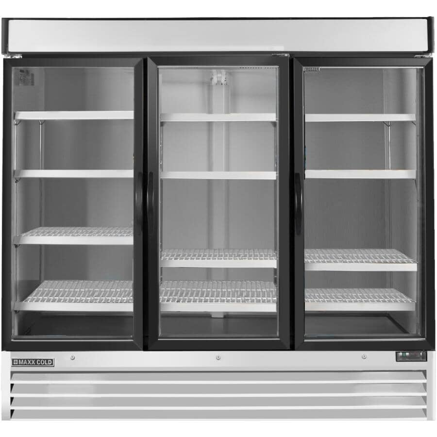 """MAXX COLD:81"""" 72 cu. ft. Commercial Grade Refrigerator (MXM3-72R) - with 3 Glass Doors, White Stainless Steel"""