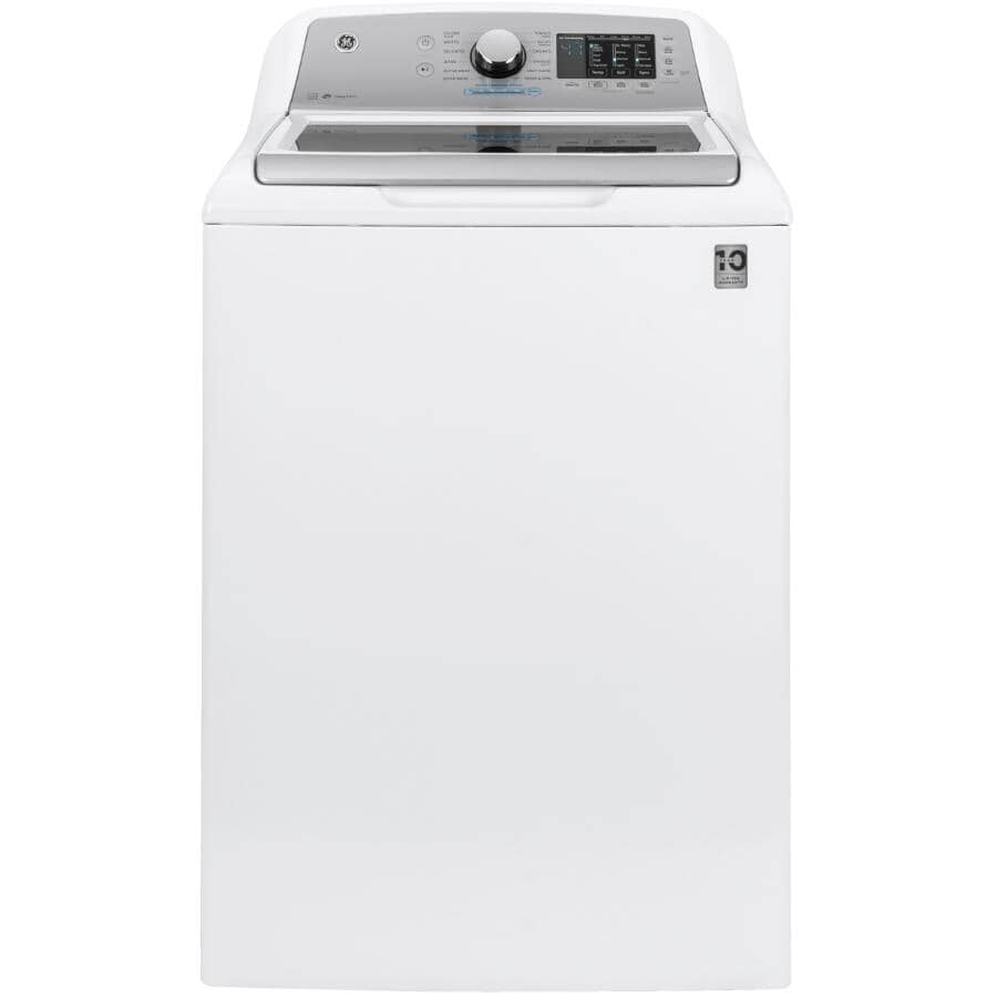 """GE:27"""" 5.5 cu. ft. Top Load Washer (GTW720BSNWS) - with Glass Top Lid, White"""