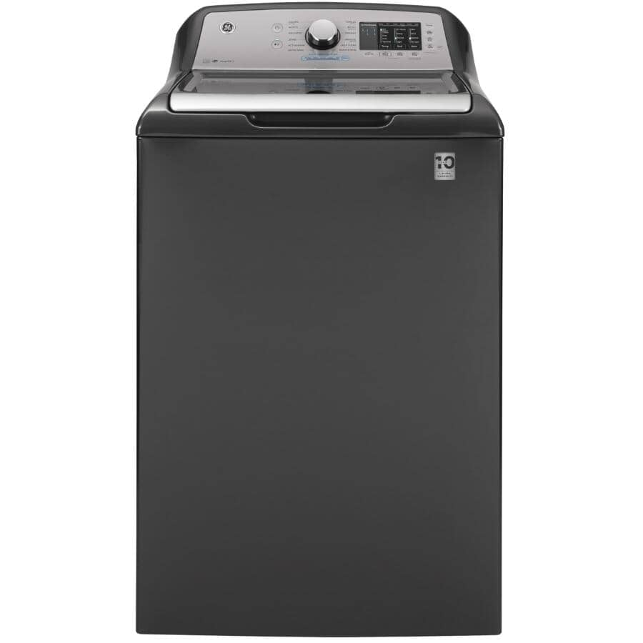 """GE:27"""" 5.5 cu. ft. Top Load Washer (GTW720BPNDG) - with Glass Top Lid, Diamond Grey"""