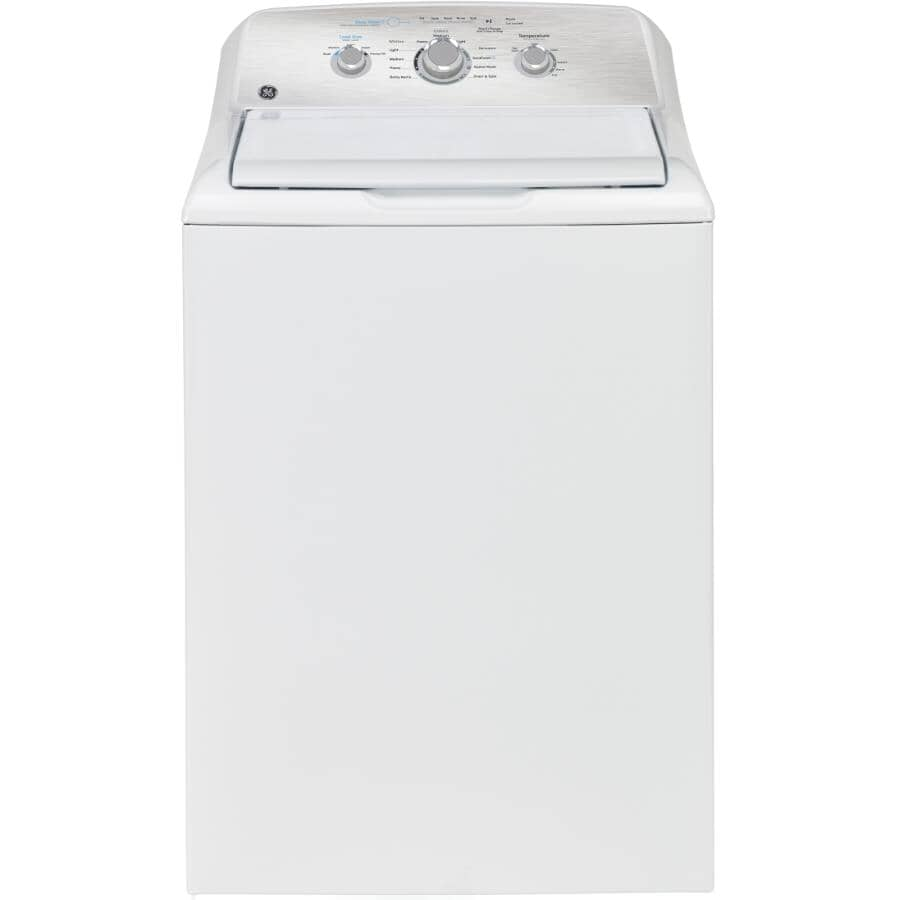 """GE:27"""" 4.4 cu. ft. Top Load Washer (GTW331BMRWS) - White + Stainless Steel Tub"""