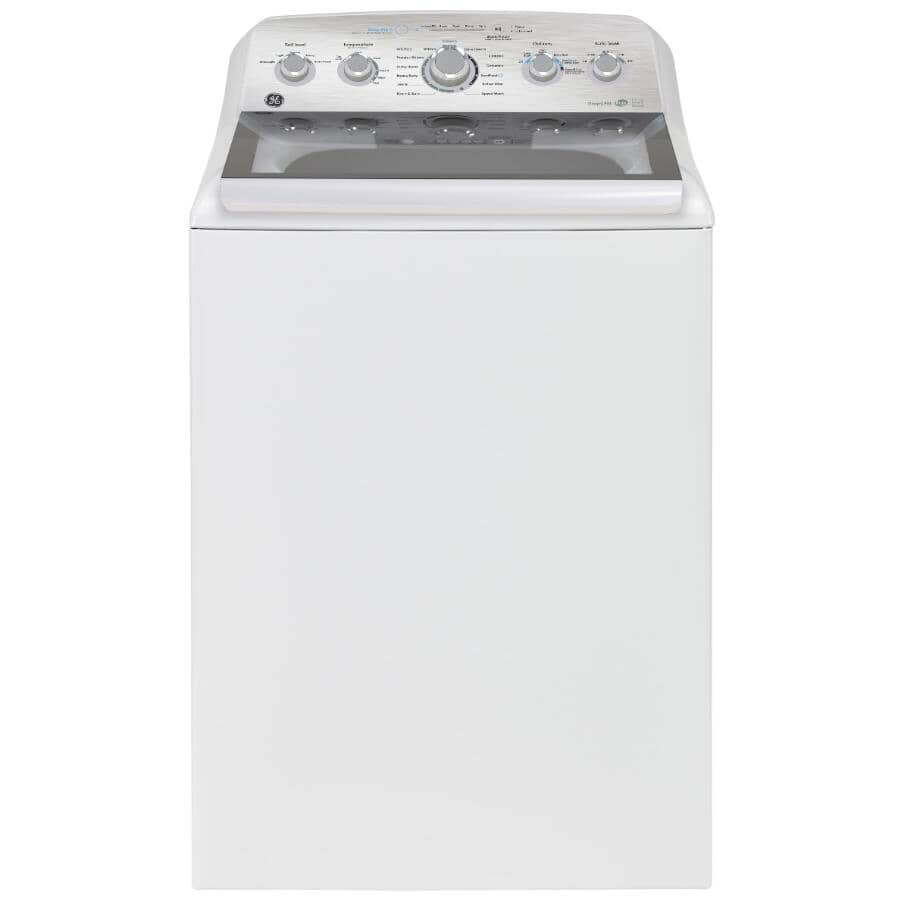 GE:5 cu ft. Top Load Washer (GTW580BMRWS) - with Glass Lid, White
