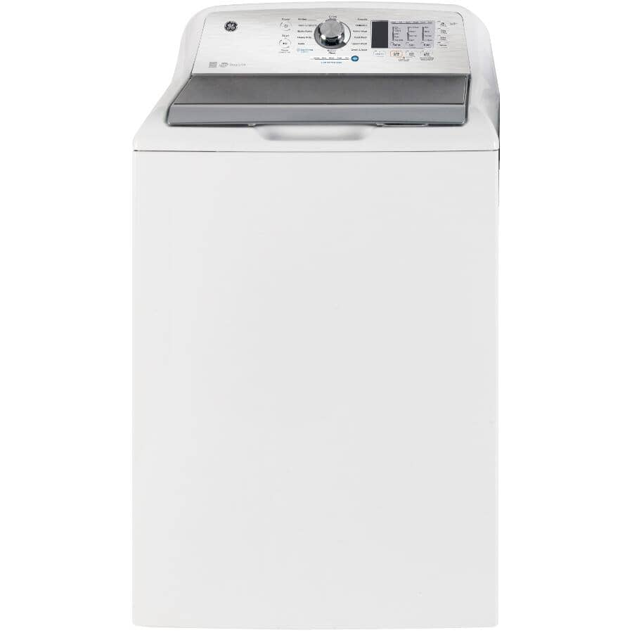 GE:5.2 cu ft. Top Load Washer (GTW685BMRWS) - with Glass Lid, White