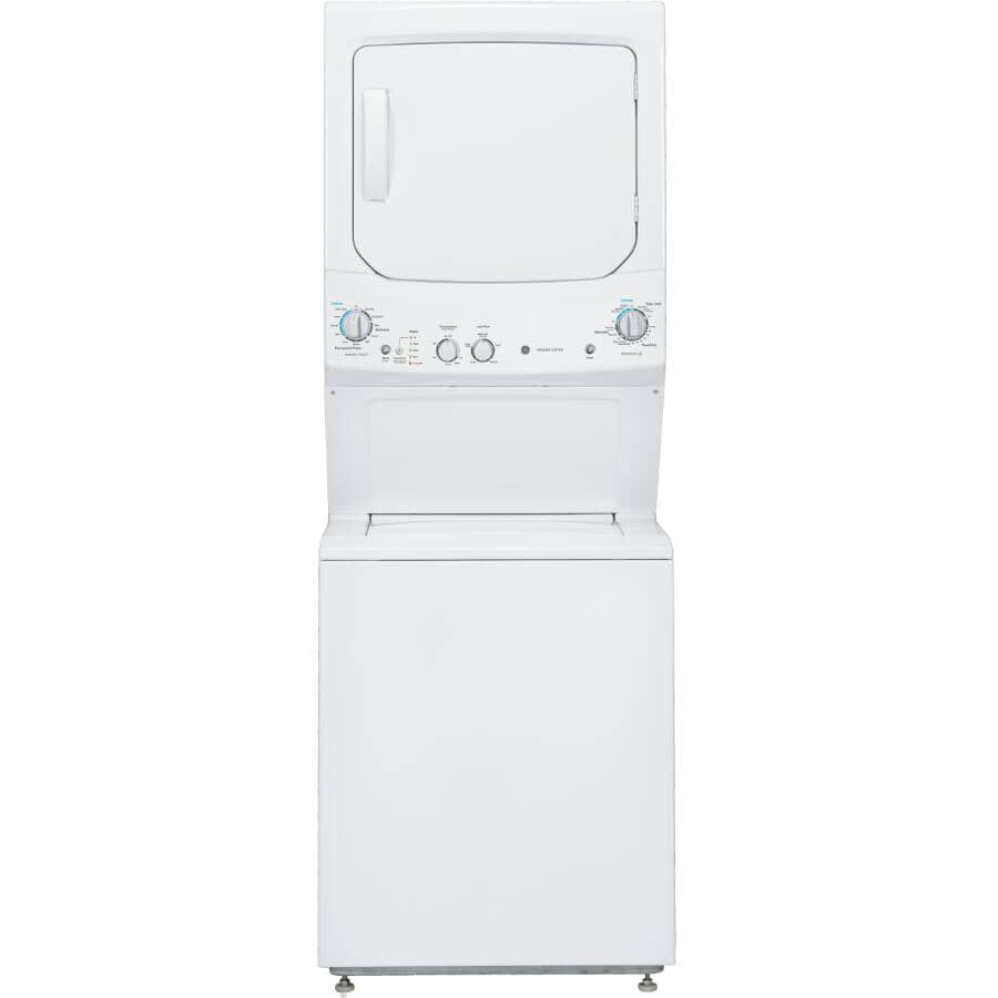 GE:White 4.4 cu. ft. Washer, with 5.9 cu. ft. Dryer