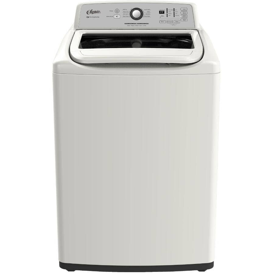 """CLASSIC:27"""" 4.7 cu. ft. Top Load Washer (CLAWI47W) - with Glass Top Lid, White"""