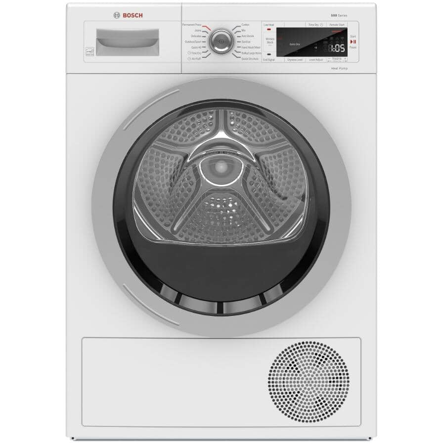 """BOSCH:24"""" 4.0 cu. ft. 500 Series Electric Front Load Dryer (WTW87NH1UC) - with Home Connect, White"""