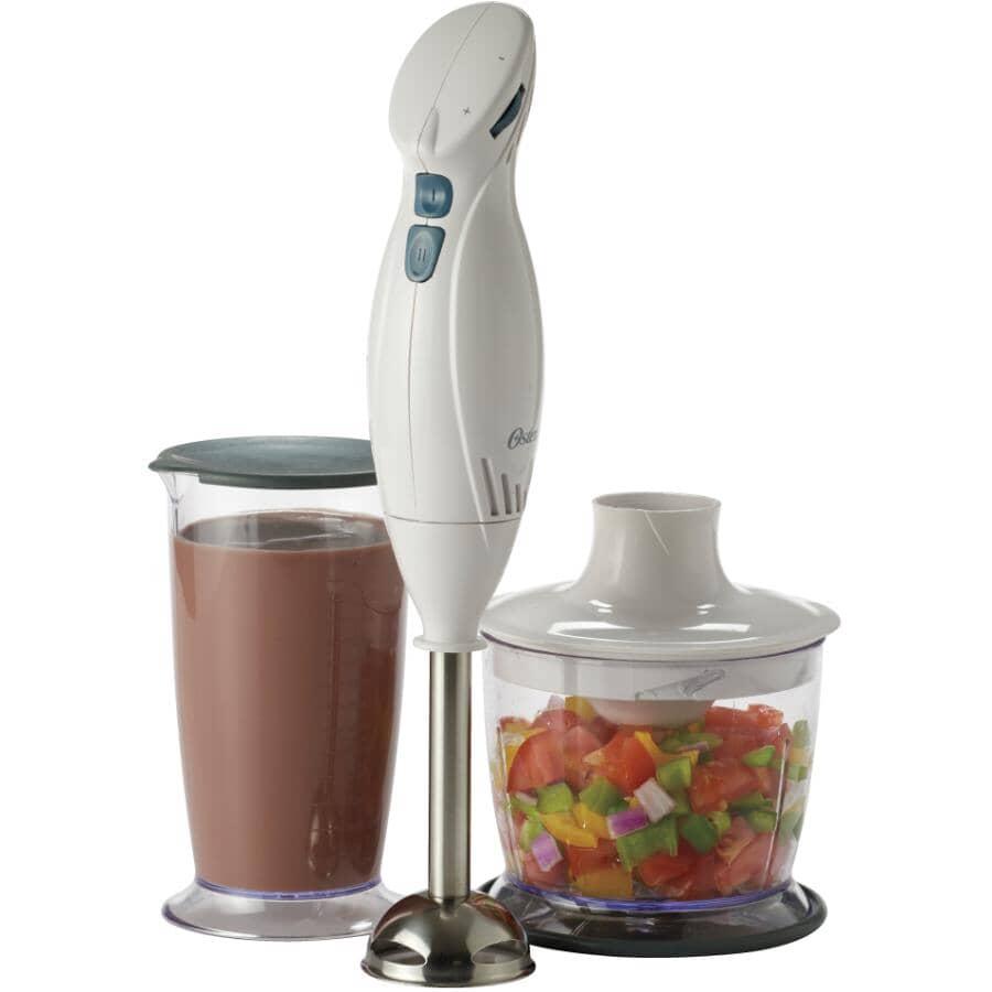 OSTER:Mélangeur portatif à 2 vitesses de 250 watts avec accessoires de robot culinaire, blanc