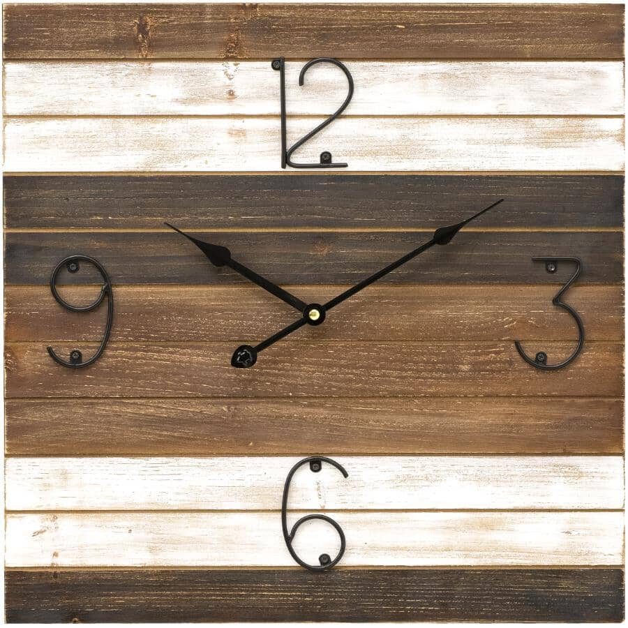 """INSTYLE:15.7"""" Square Wall Clock - Brown"""