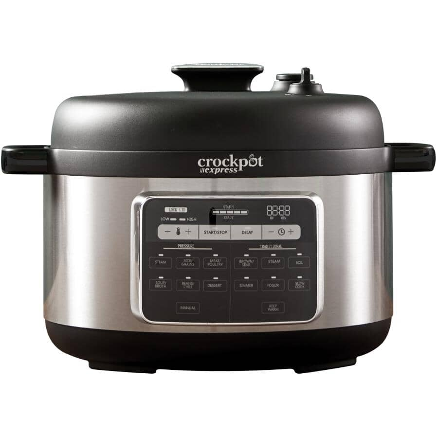 CROCKPOT:6 Qt. Express Pressure Cooker - Black & Stainless Steel