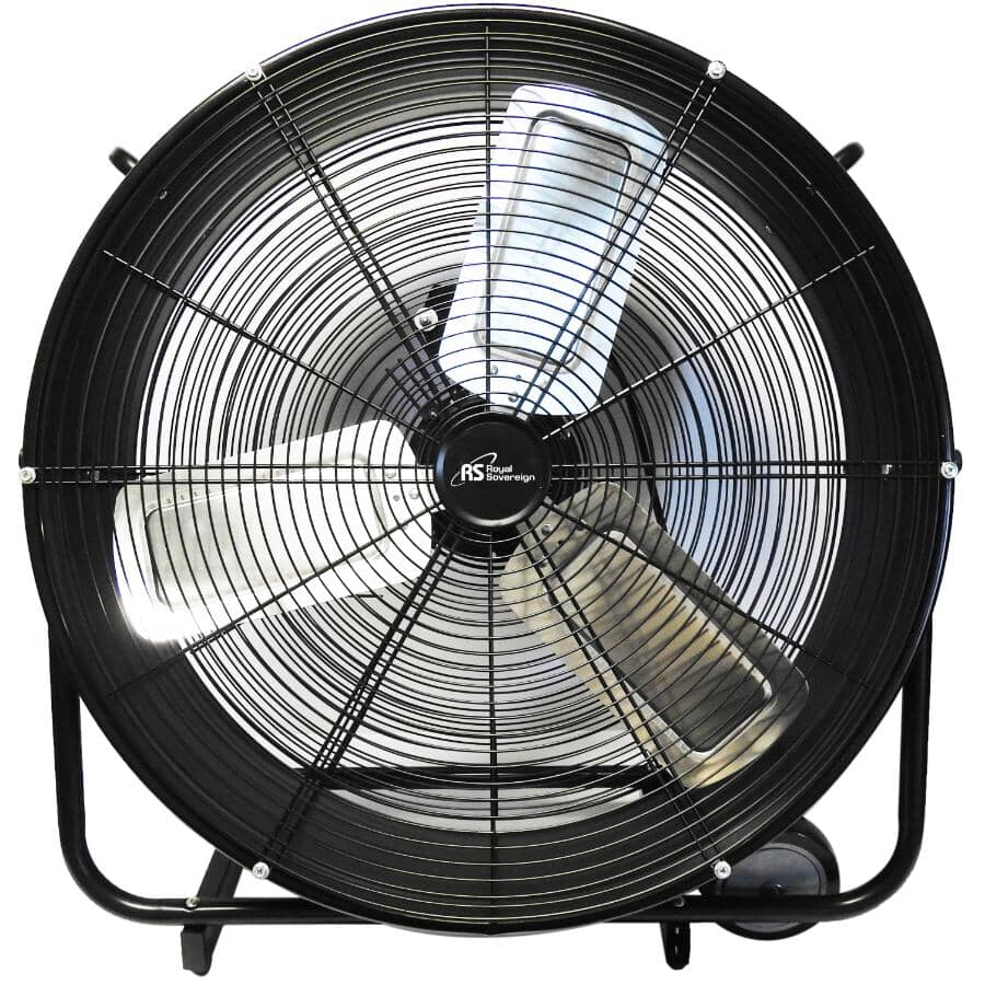 """ROYAL SOVEREIGN:24"""" High Velocity Drum Fan - with 3 Speeds, Black"""