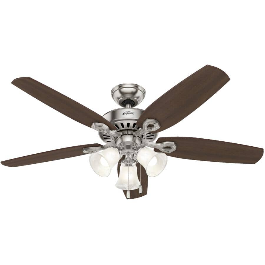 """HUNTER:Hinnman 52"""" 5 Blade Brushed Nickel Ceiling Fan - with LED Light"""