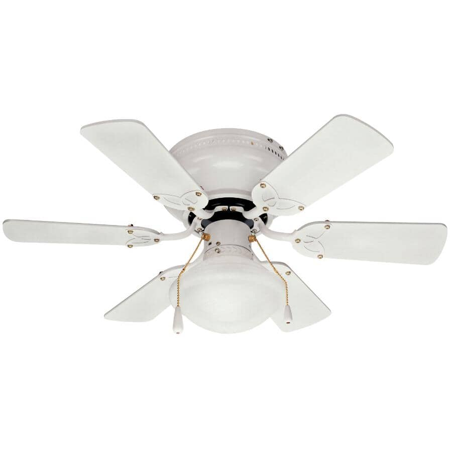 """CANARM:Twister 30"""" 6 Blade White Ceiling Fan - with Light"""