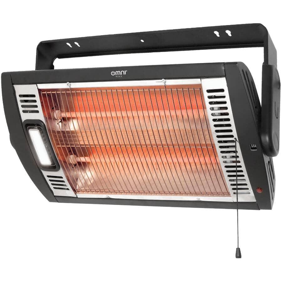 CLASSIC:1400W Workshop Ceiling Mount Heater - with High Efficiency Quartz & Light