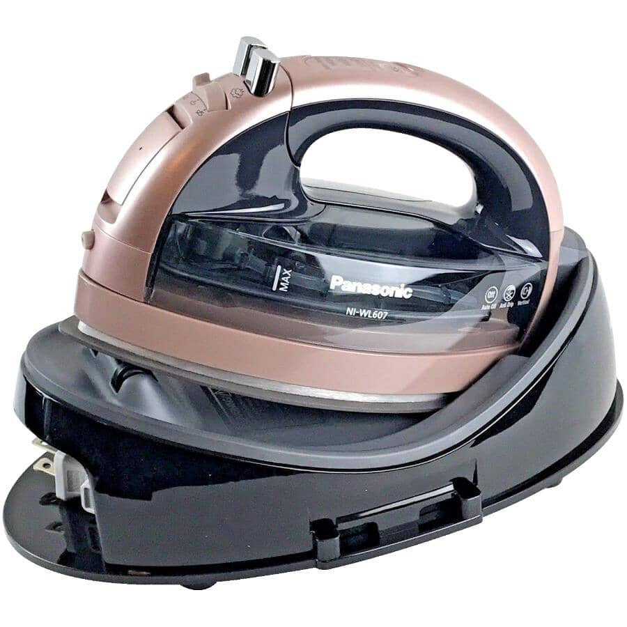 PANASONIC:1500 Watt Rose Gold Freestyle Ceramic Cordless Steam Iron, with Auto Shut Off and Self-Clean System