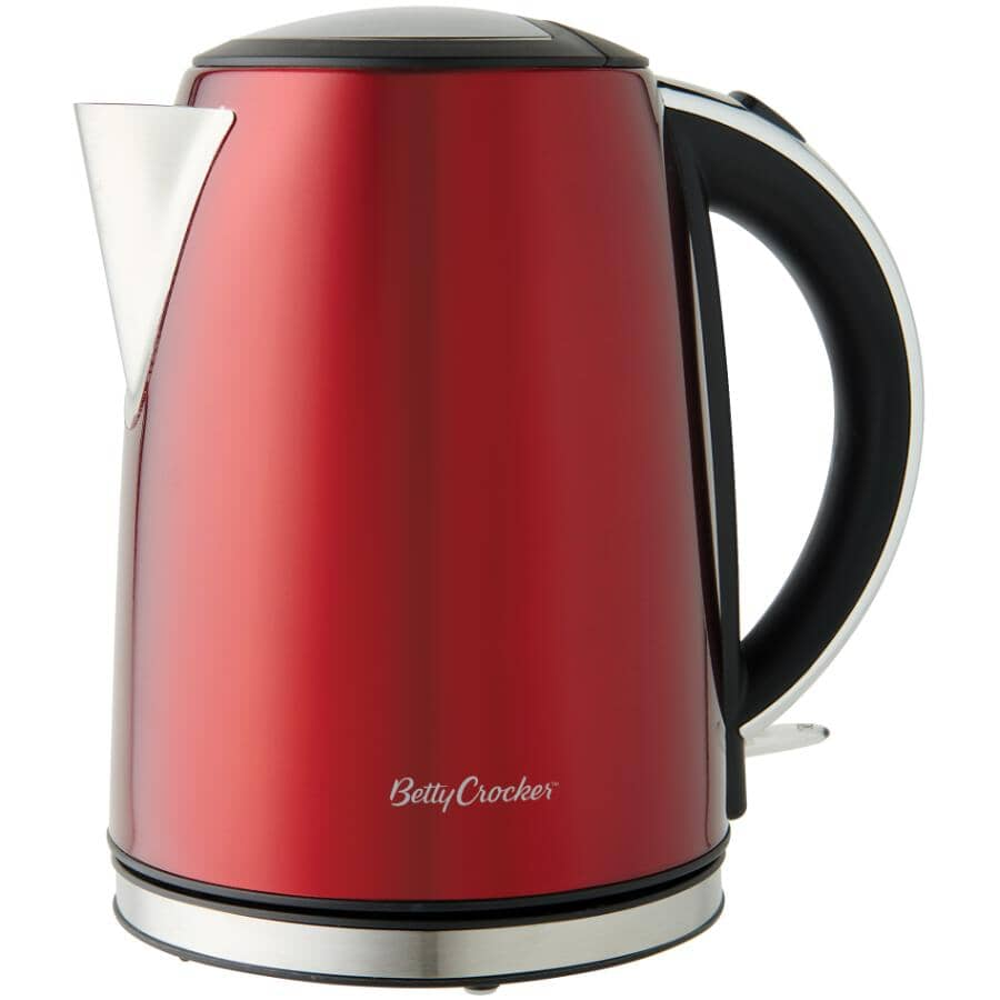 BETTY CROCKER:Signature Series Electric Kettle - Cordless + Red, 1.7 L