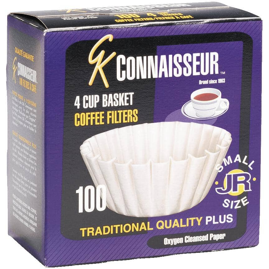 BREWRITE:100 Pack White Paper Basket Coffee Maker Filters, for 4-6 Cup Coffee Makers