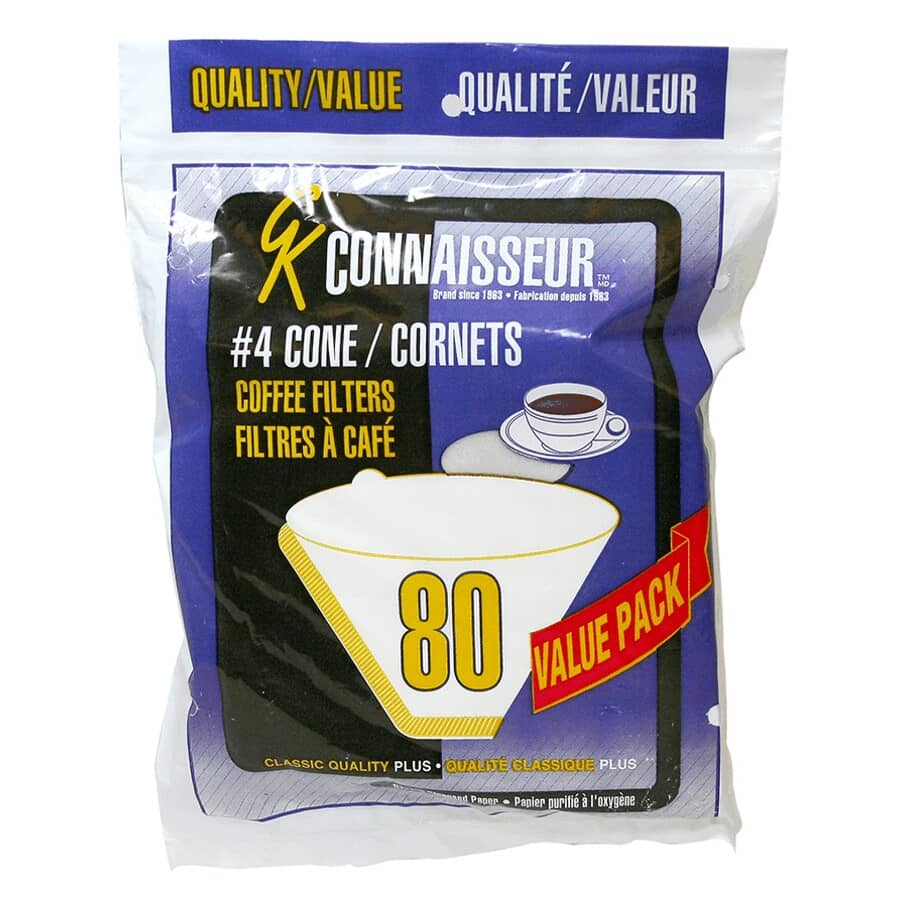 GK CONNAISSEUR:40 Pack White #4 Cone Coffee Maker Filters