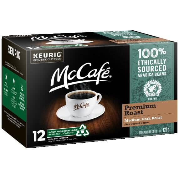 MC CAFE:12 Pack Single Serve McCafe Medium-Dark Premium Roast Coffee Cups