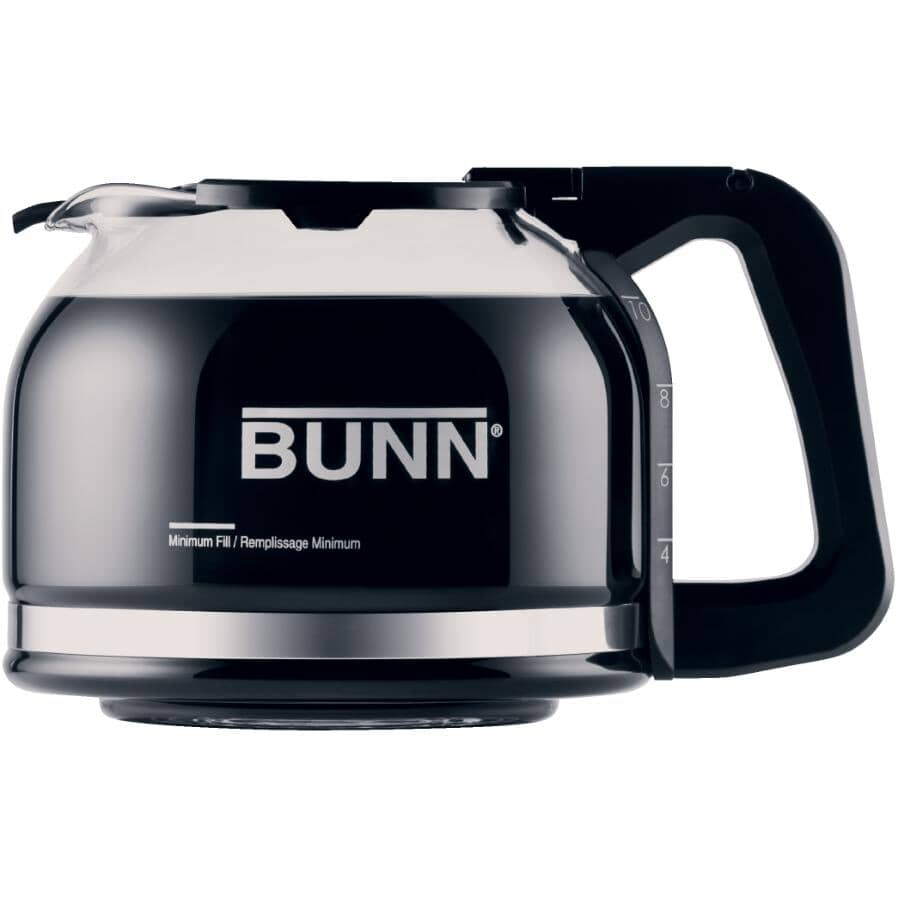 BUNN:10 Cup Drip Free Glass Carafe - with Black Handle