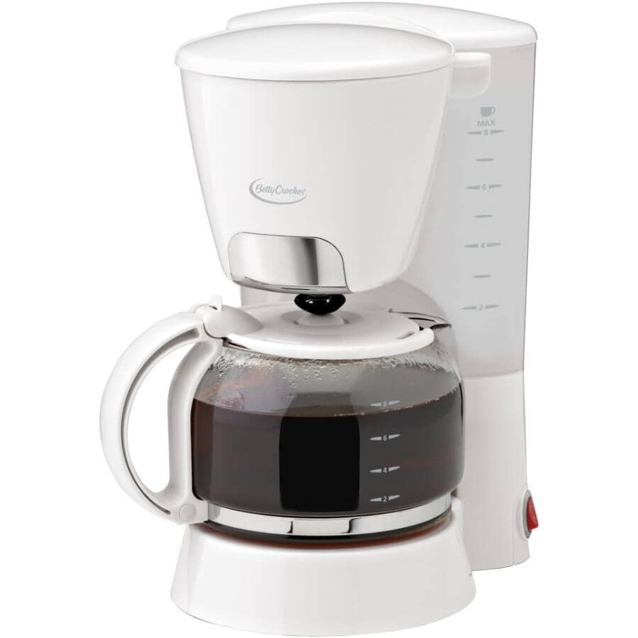 BETTY CROCKER:8 Cup Coffee Maker - with Cone Filter + White