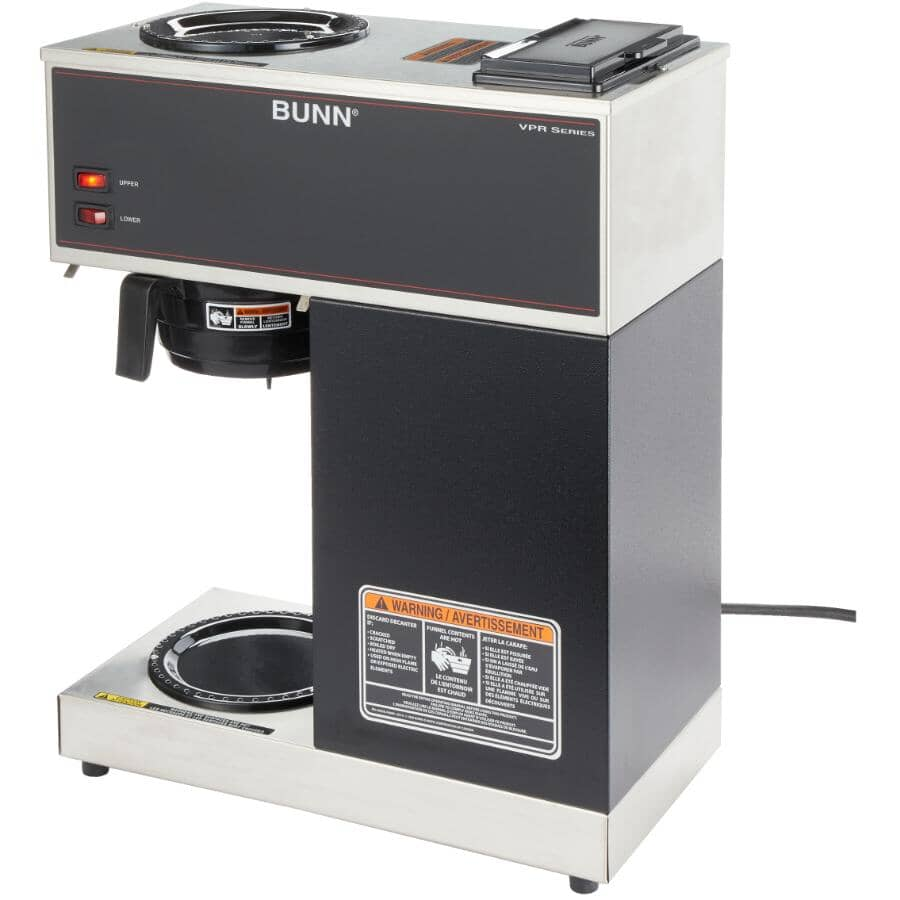 BUNN:VPR Pourover Coffee Brewer - with 2 Individual Controlled Warmers, Black