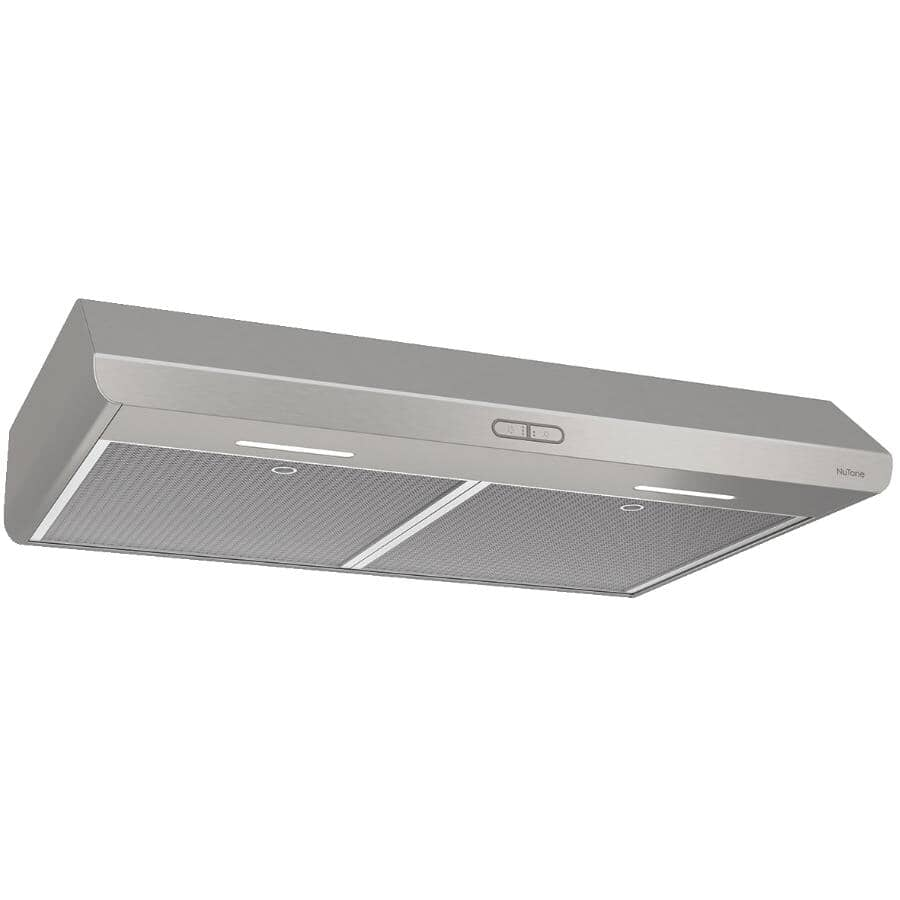 """NUTONE:30"""" Stainless Steel Under Cabinet Range Hood with LED Flat Panel Touch Screen - 375 Max CFM"""