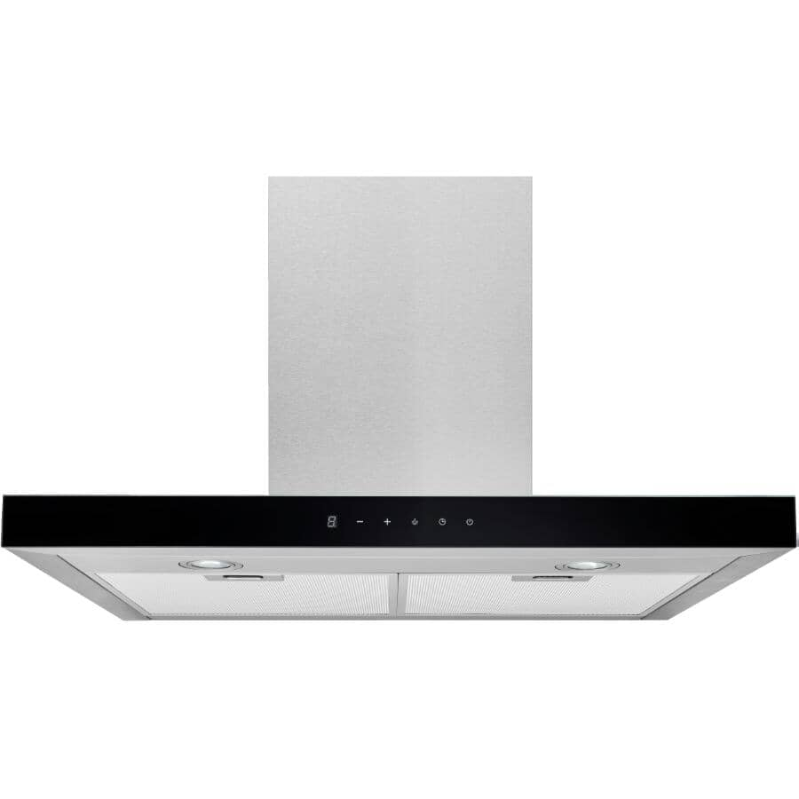 """BROAN:T-Shaped Wall Mounted Range Hood - with LED Light, 30"""", Stainless Steel + Black Glass"""