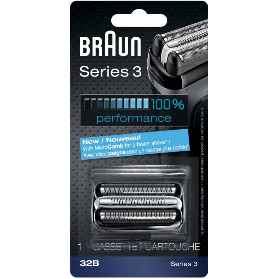 BRAUN:Grille et lame de rechange robustes pour rasoir pour hommes Series 3, noir