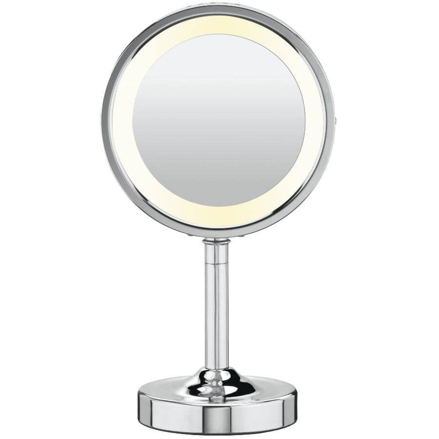 """CONAIR:1x+5x Round 6"""" Table Top Lighted Makeup Mirror"""
