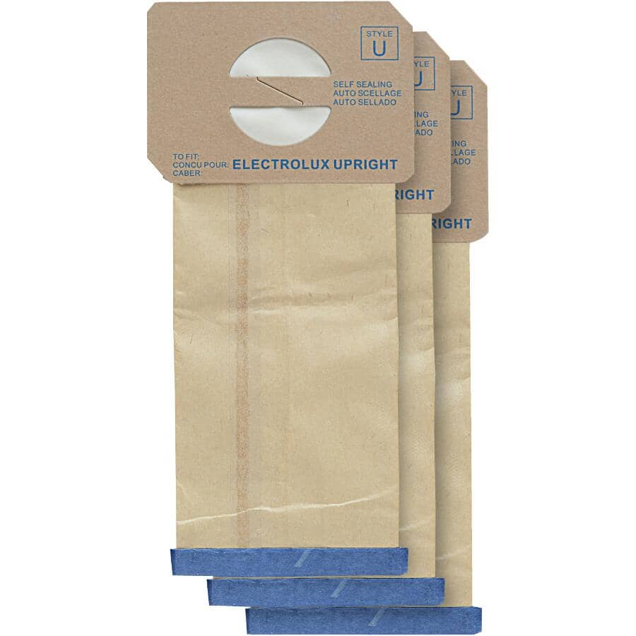 HOME CARE:3 Pack 'U' Style Upright Electrolux Micro Vacuum Bags