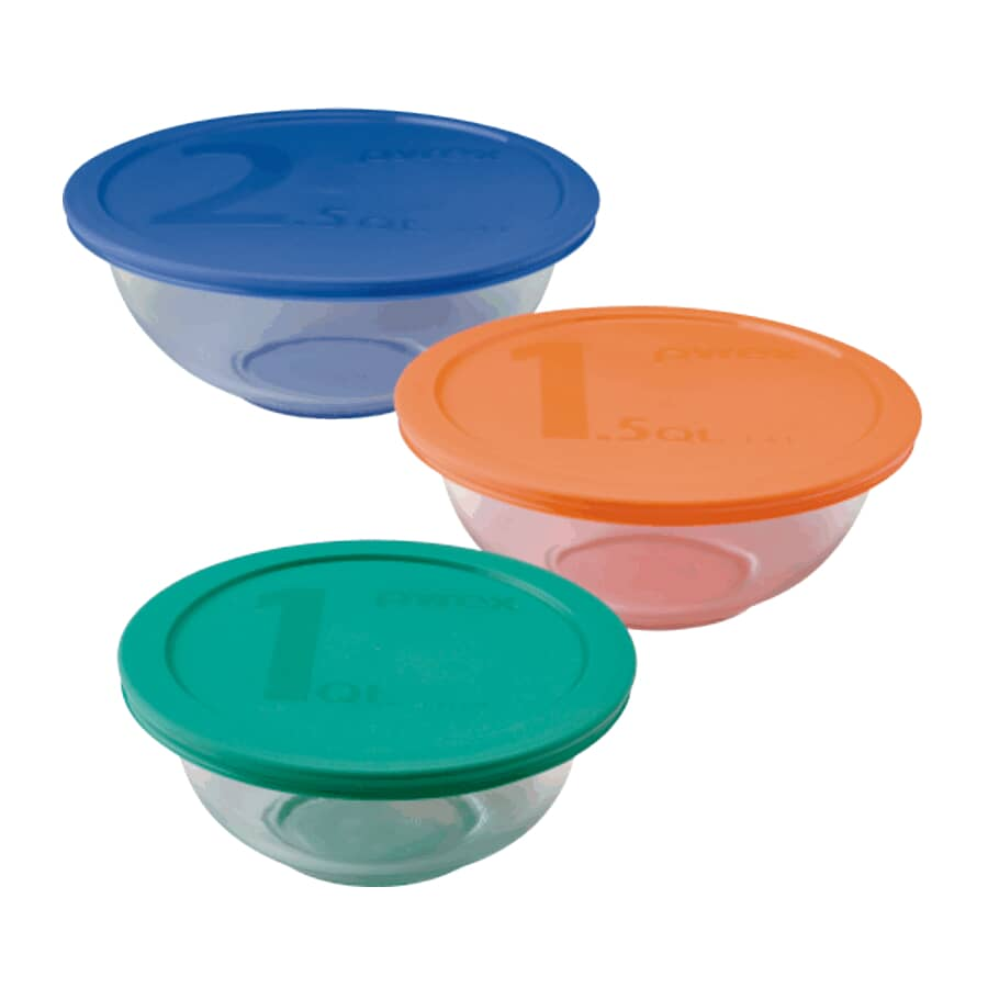 PYREX:Glass Mixing Bowl Set - with Assorted Lids, 6 Piece
