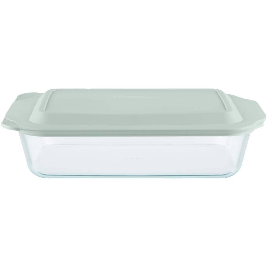 PYREX:Rectangular Glass Deep Baking Dish - 5 Qt, with Sage Green Lid