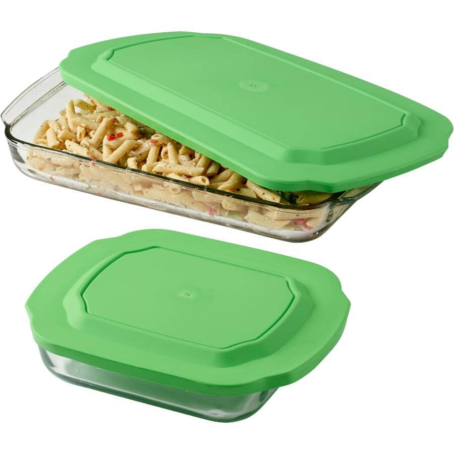 LIBBEY:Glass Baking Dish Set - 4 Piece, with Green Lids