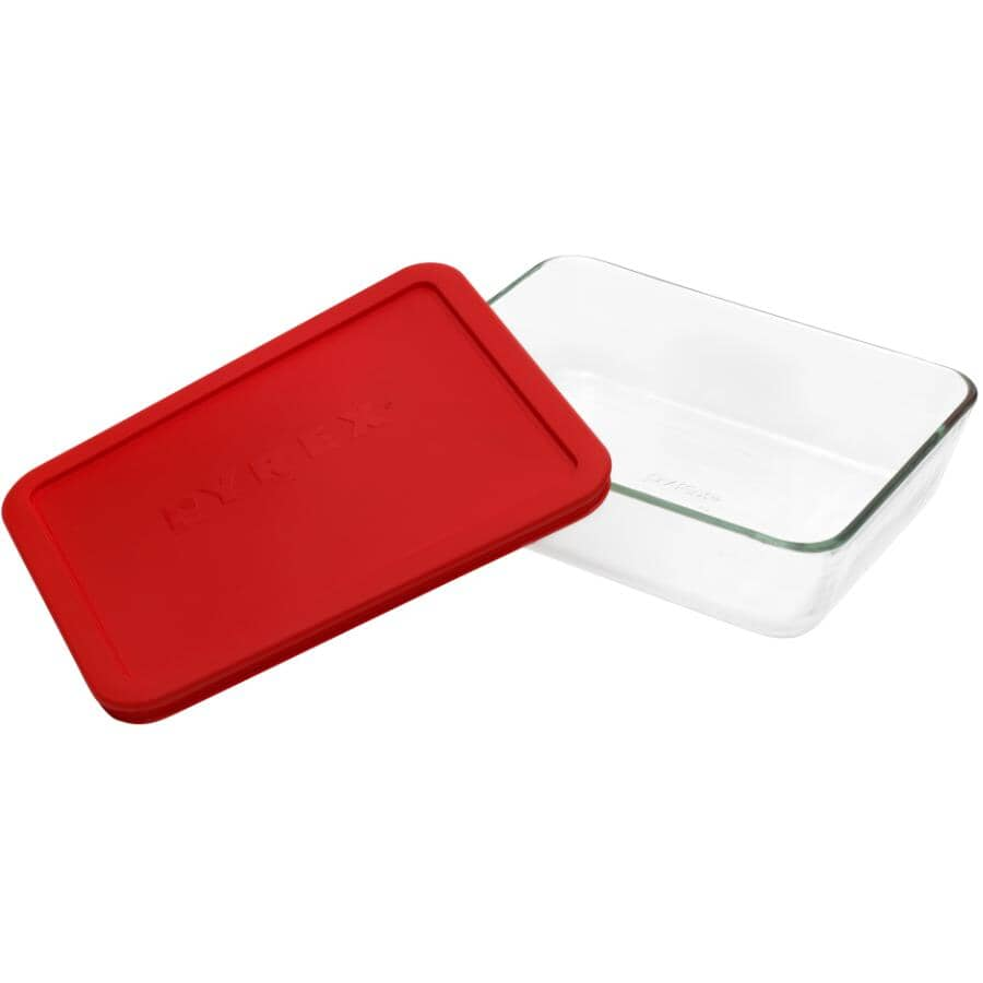 PYREX:Rectangular Glass Storage Dish Set - with Red Lid, 1.4 L