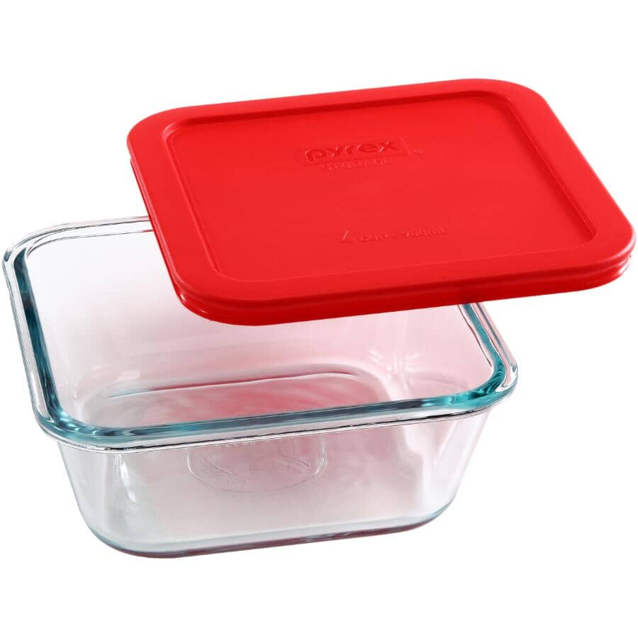 PYREX:Square Glass Storage Dish - with Red Lid, 950 ml