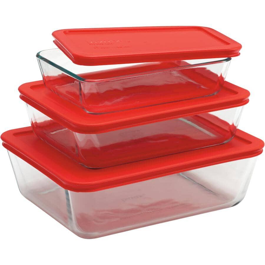 PYREX:Rectangular Glass Storage Dish Set - with Red Lids, 6 Piece