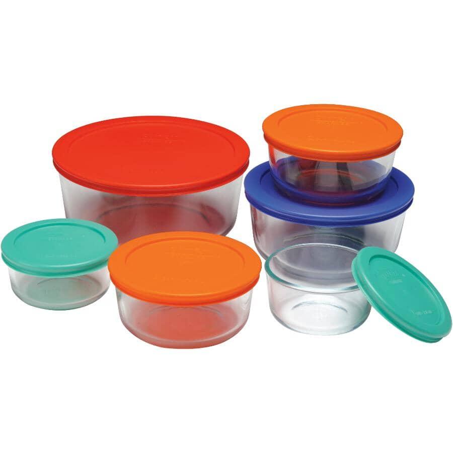 PYREX:Round Glass Storage Dish Set - with Multi-Coloured Lids, 12 Piece
