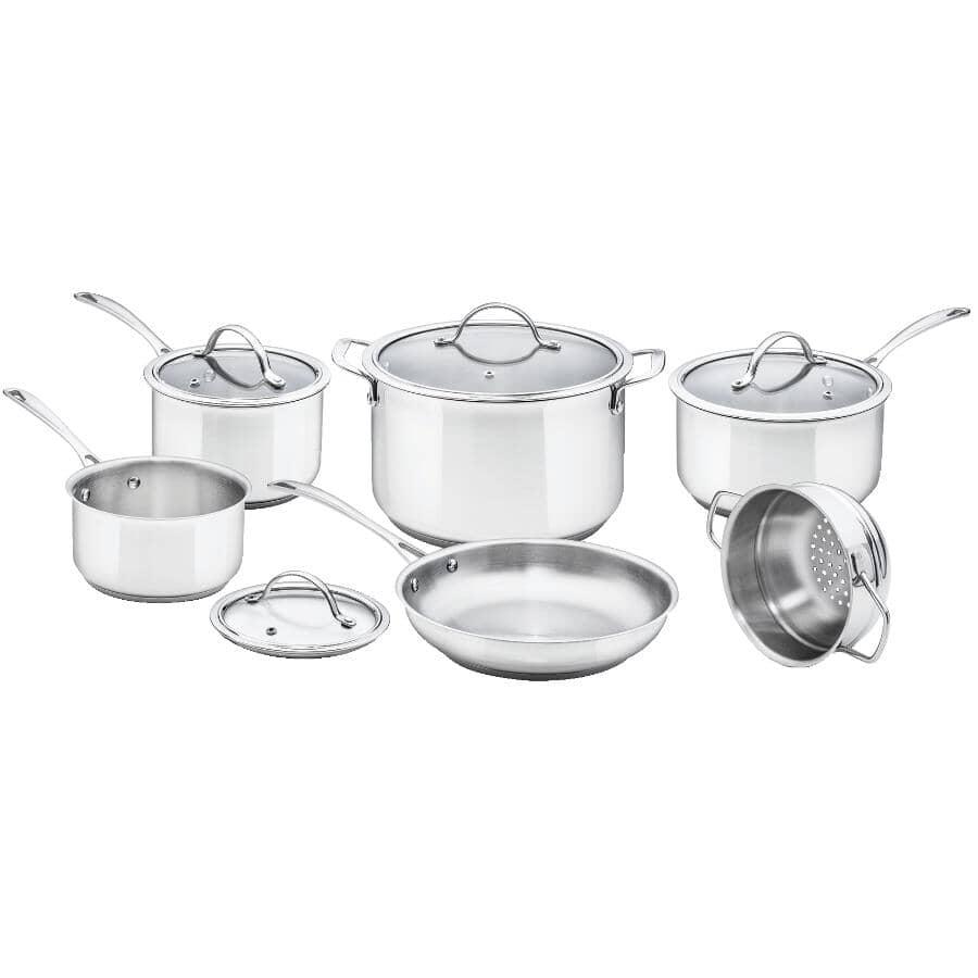KURAIDORI SELECT:Stainless Steel Cookware Set - with Glass Lids, 10 Piece