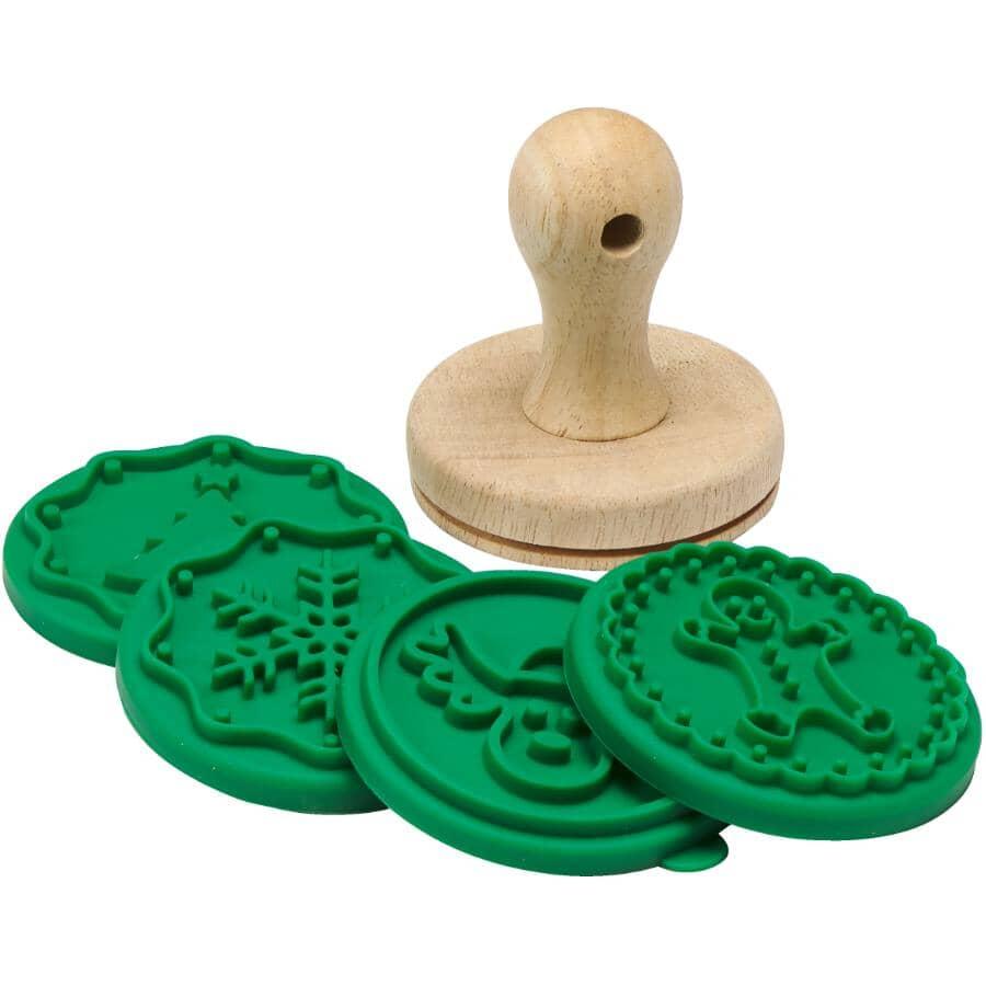 MAISON PLUS:5 Piece Silicone Christmas Cookie Stamp Set
