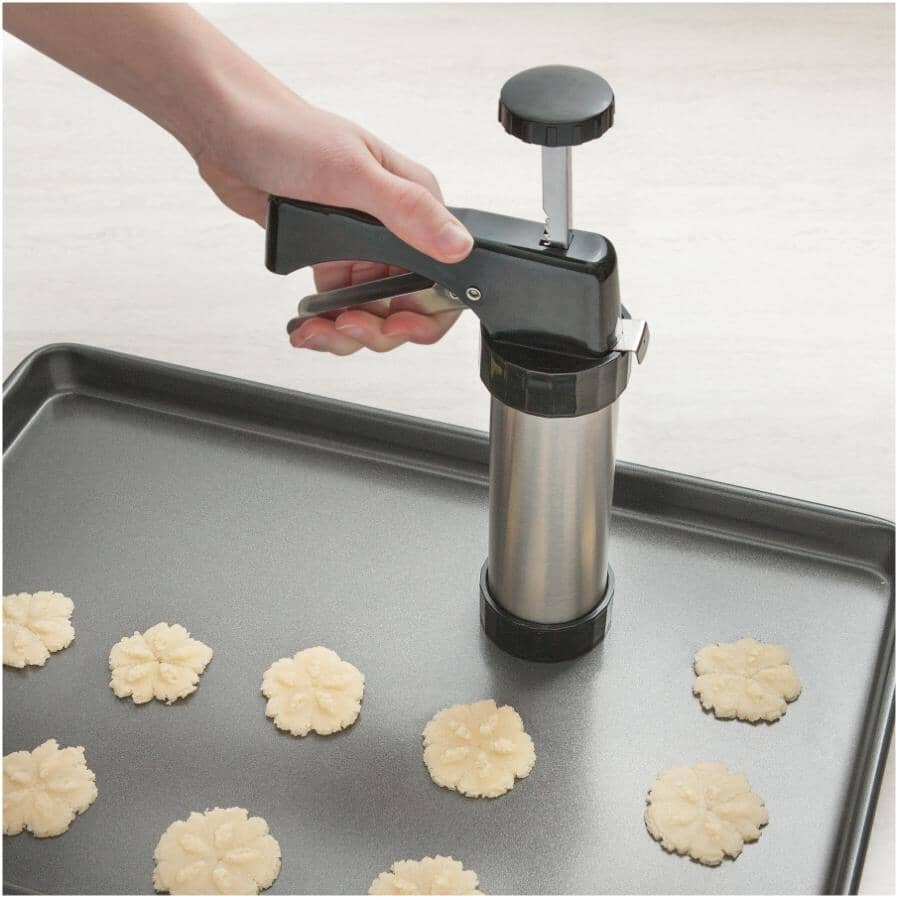 INSTYLE:Stainless Steel Cookie Press - with Decorator, 22 Piece