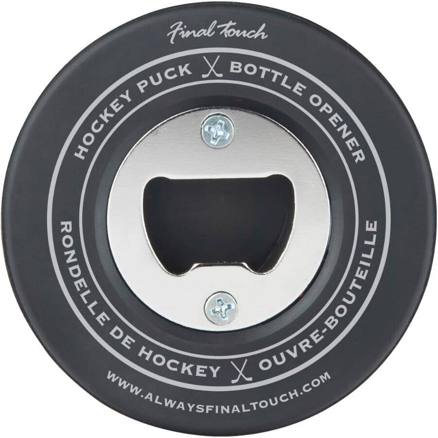 FINAL TOUCH:Hockey Puck Bottle Opener & Coaster