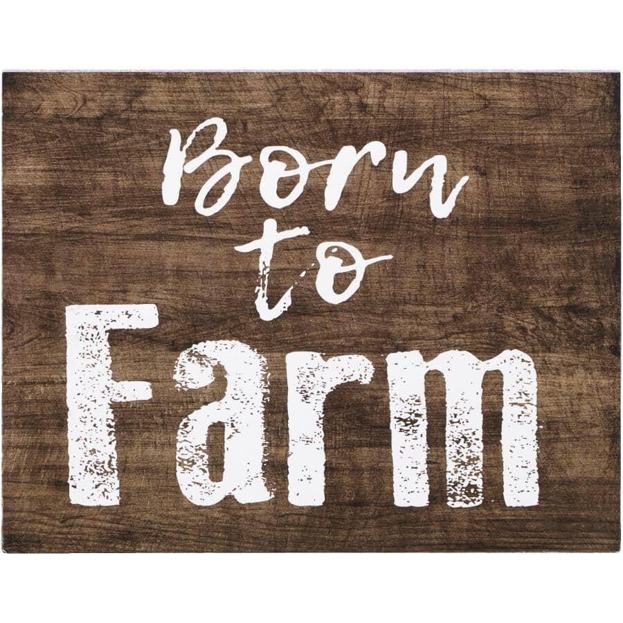 "STREAMLINE ART:Born to Farm Wall Plaque - 7"" x 9"""