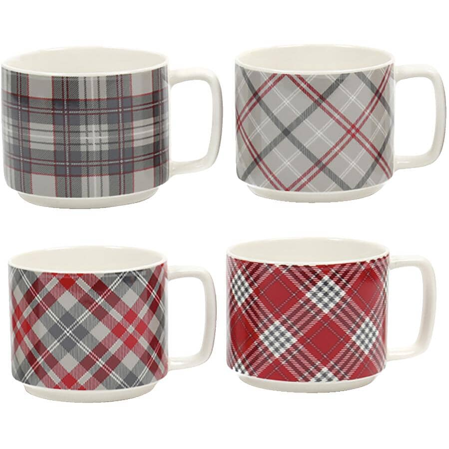 CTG BRANDS:Stackable Tartan Christmas Mugs - 14 oz, 4 Pack