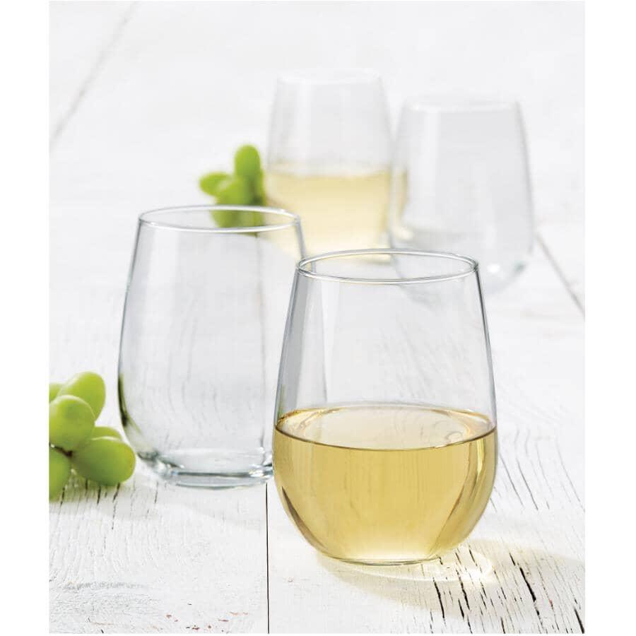 LIBBEY:4 Pack 17oz Vina White Wine Stemless Stemware Set