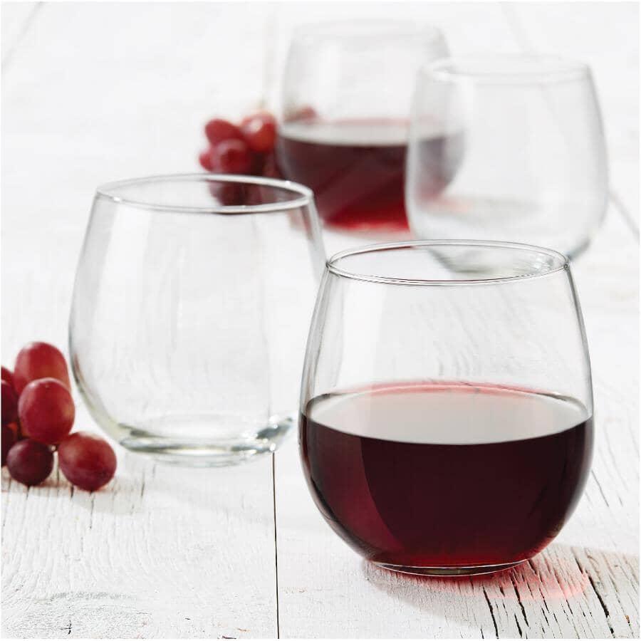 LIBBEY:4 Pack 16.5oz Vina Red Wine Stemless Stemware Set